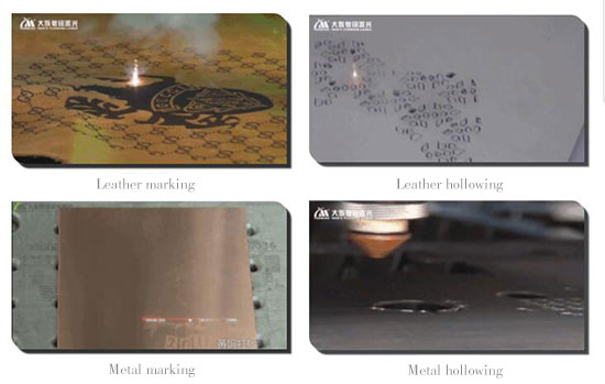 laser marking leather, laser hollowing leather, metal marking and metal hollowing